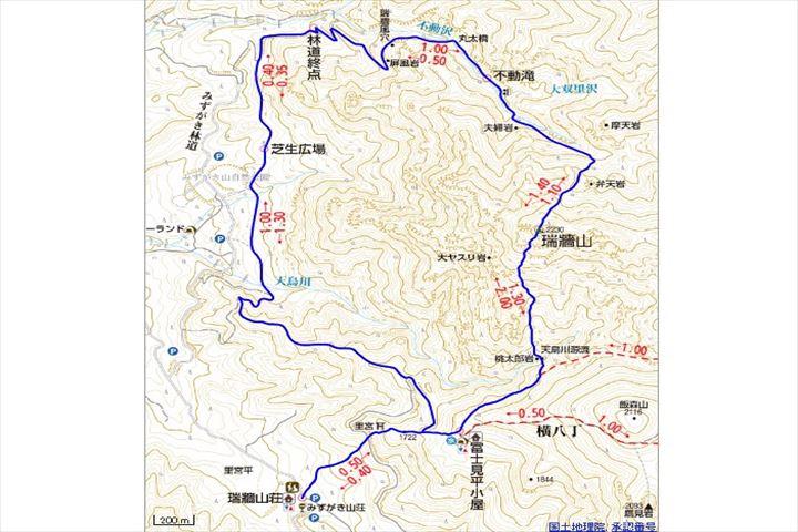 瑞牆山周回コース地図